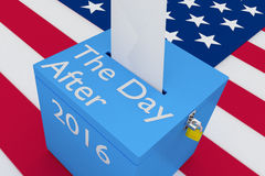 The Day After concept. 3D illustration of The Day After, 2016 scripts and on ballot box, with US flag as a background Royalty Free Stock Image