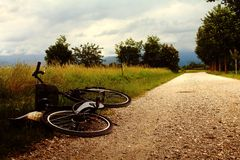 A day in countryside. A bike ride makes me discover the countryside stock photography