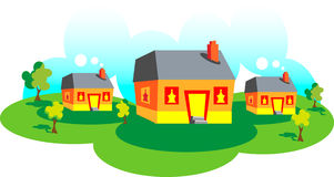 Day countryside landscape. Vector Day countryside landscape. Home sweet home. Houses in icons style.Great for purposes stock illustration