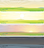Day cycle panoramas. Landscapes panoramas with day cycle-(vector available stock illustration