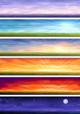Day cycle - six landscapes at different time. Day cycle (set of six colorful banners showing same landscape at different times of the day Royalty Free Stock Image