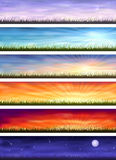 Day cycle - six landscapes at different time. Day cycle (set of six colorful banners showing same landscape at different times of the day Stock Photos
