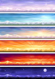 Day cycle - six landscapes at different time. Day cycle (set of six colorful banners showing same landscape at different times of the day Stock Images