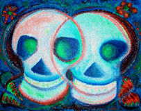 Day of the Dead. The Mexican festival el dia de los muertos, which honors the deceased, or known as the day of the dead. Digital mosaic artwork Stock Image