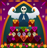 Day of the Dead Altar. Festive skulls and an angel on top of an altar to celebrate Dia de los Muertos (the Day of the Dead, Oct.31-Nov2) - in rememberance of Royalty Free Illustration