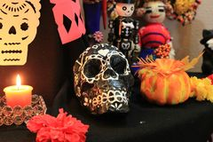 Day of the Dead Altar and decorations. Day of the dead skull and decorations for the altar October 31 to November 2 royalty free stock photography
