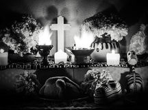 Day of the dead altar with pan de muerto and candles Stock Photography