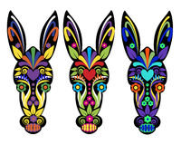 Day of the dead artwork on donkey. Donkey heads illustrated with day of the dead art work Stock Photo