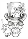 Day of the dead, baron samedi drawing. Vector Royalty Free Stock Photo