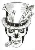 Day of the dead, baron samedi drawing. Day of the dead, baron samedi vector illustration Royalty Free Stock Photography