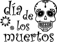 Day of the Dead Black Graphic with Skull Royalty Free Stock Image