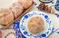 Day of the Dead Bread (Pan de Muerto). Sweet bread called Bread of the Dead (Pan de Muerto) enjoyed during Day of the Dead festivities in Mexico Stock Photography