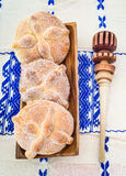Day of the Dead Bread (Pan de Muerto). Sweet bread called Bread of the Dead (Pan de Muerto) enjoyed during Day of the Dead festivities in Mexico Stock Photos