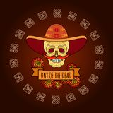 Day of the Dead. Skull in sombrero. Vector. Day of the Dead card. Vector illustration of smiling skull in sombrero with mustache of red peppers isolated on royalty free illustration