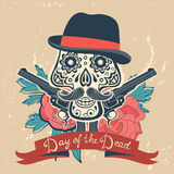 Day of the dead card with vintage skull, flowers Royalty Free Stock Image