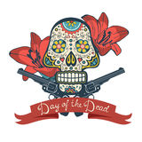Day of the dead card with vintage skull, flowers Stock Photos