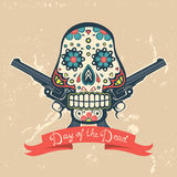 Day of the dead card with vintage skull and guns Stock Photography
