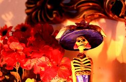 Day of the Dead Catrina. At an altar royalty free stock image