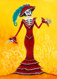 Day of the Dead Catrina Skeleton. Mexican Elegant Death illustration Royalty Free Stock Photo