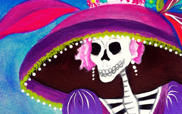 Day of the Dead Catrina Skeleton. Mexican Elegant Death illustration Royalty Free Stock Image