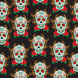 Day of the Dead celebration, a festival in Mexico. Sugar Skull seamless pattern, skeleton background, texture, wallpaper. Stock Photos