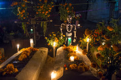 Day of the Dead. The cemetery of Oaxaca at night during Day of the Dead Royalty Free Stock Photos