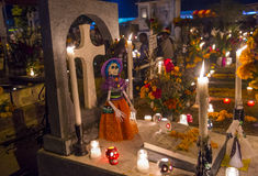 Day of the Dead. The cemetery of Oaxaca at night during Day of the Dead Stock Photos