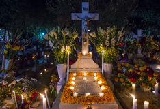 Day of the Dead. The cemetery of Oaxaca at night during Day of the Dead stock photo
