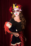 Day of The Dead Child with Doll Stock Photography