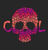 Day of The Dead colorful Skull with floral ornament. Skull t shirt print stock illustration