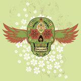 Day of The Dead colorful Skull with floral ornament and wings Royalty Free Stock Images