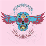 Day of The Dead colorful Skull with floral ornament and wings Royalty Free Stock Image