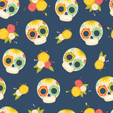 Day of the dead colorful vector pattern. Royalty Free Stock Image