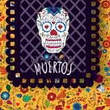 Day of the dead, Dia de los moertos, banner with colorful Mexican flowers. royalty free illustration