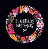 Day of the dead, Dia de los muertos, banner with colorful Mexican flowers and icons. Fiesta, holiday poster, party flyer. Day of the dead, Dia de los moertos royalty free illustration