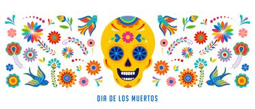Day of the dead, Dia de los muertos background, banner and greeting card concept with sugar skull. Colorful vector illustration stock illustration