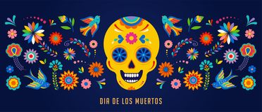 Day of the dead, Dia de los muertos background, banner and greeting card concept with sugar skull. Colorful vector illustration vector illustration