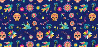 Day of the dead, Dia de los muertos background and seamless pattern royalty free illustration