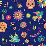 Day of the dead, Dia de los muertos background and seamless pattern vector illustration