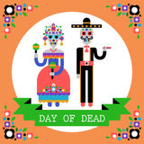 Day of the Dead (Dia de los Muertos). Mexican holiday. Vector Illustration of couple of skeletons Stock Image