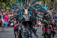 Day of the dead Dia de los Muertos parade in Mexico city - Mexico. MEXICO CITY, MEXICO - OCTOBER 29, 2016 : Day of the dead Dia de los Muertos parade in Mexico Stock Photography