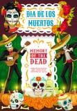 Day of Dead, Dia de los Muertos party fiesta. Day of Dead Mexican Dia de los Muertos party fiesta poster of skeletons in sombrero playing guitar. Vector Dia de royalty free illustration