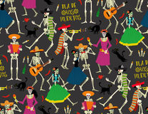 Day of the Dead. Dia de los Muertos . Seamless pattern with skeletons. The skeleton dance Stock Photography
