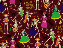 Day of the Dead. Dia de los Muertos . Seamless pattern with skeletons. The skeleton dance Stock Images