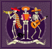 Day of the Dead. Dia de los Muertos . Seamless pattern with skeletons. The skeleton dance Stock Photos