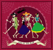Day of the Dead. Dia de los Muertos . Seamless pattern with skeletons. The skeleton dance Royalty Free Stock Photography