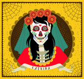 Day of the Dead. Dia de los Muertos . Seamless pattern with skeletons. The skeleton dance Stock Photo