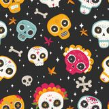Seamless vector pattern with sugar skulls and flowers. Day of the Dead. Dia de los muertos. Seamless vector pattern with sugar skulls and flowers on dark Stock Photos