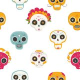 Seamless vector pattern with sugar skulls and flowers. Day of the Dead. Dia de los muertos. Seamless vector pattern with sugar skulls and flowers on white Royalty Free Stock Image