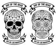 Day of the dead. Dia de los muertos. Set of the sugar skulls. Design elements for poster, greeting card, banner. Vector illustrati Royalty Free Stock Images